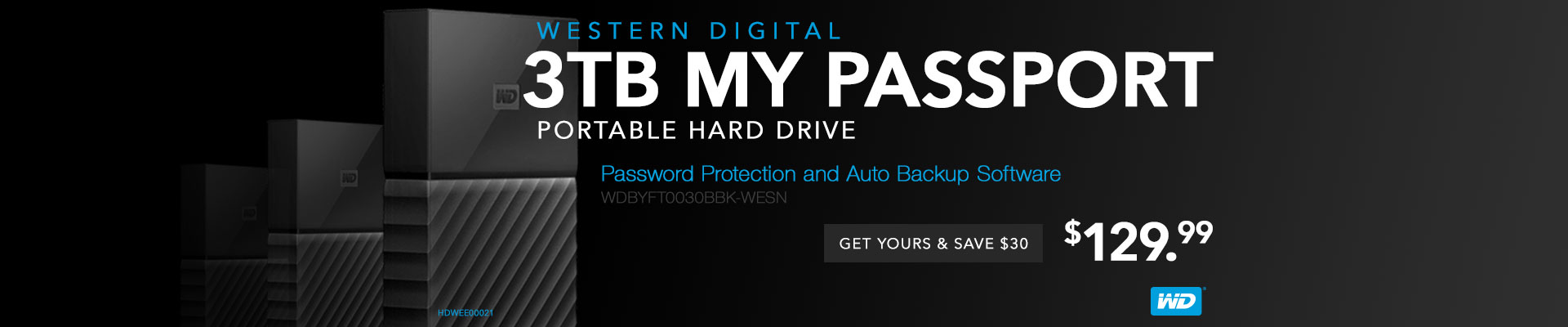WD 3TB My Passport Portable Hard Drive with password protection