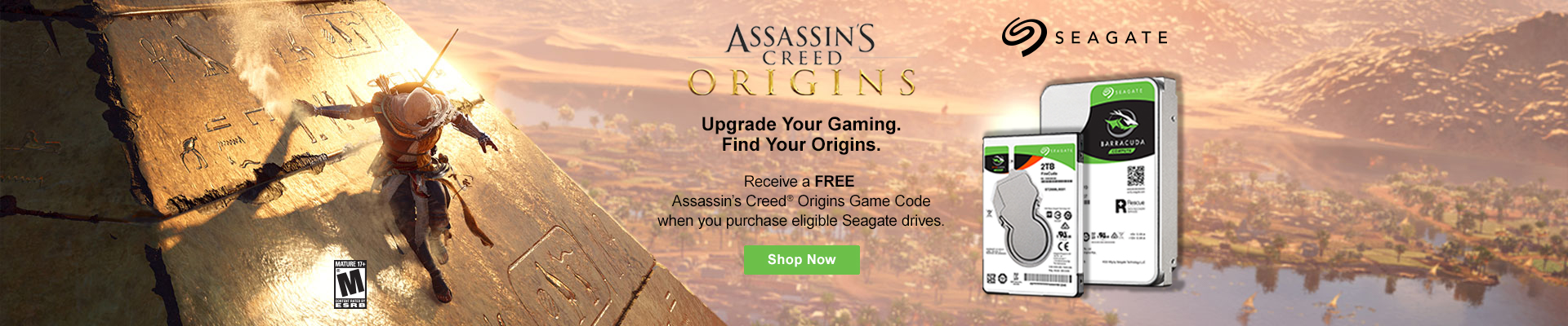 Buy Eligible Seagate Drives get Free Assassin's Creed Origins game code